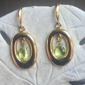 Jewelry - 14KT Gold Genuine Peridot Drop Earrings